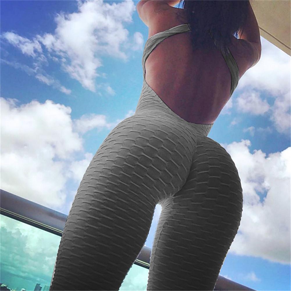 2018 Fitness Clothing Women's One-pieces Sports Suit Set Workout Gym Fitness Jumpsuit Pants Sexy Yoga Set Bandage Gym Bodysuit Y190508
