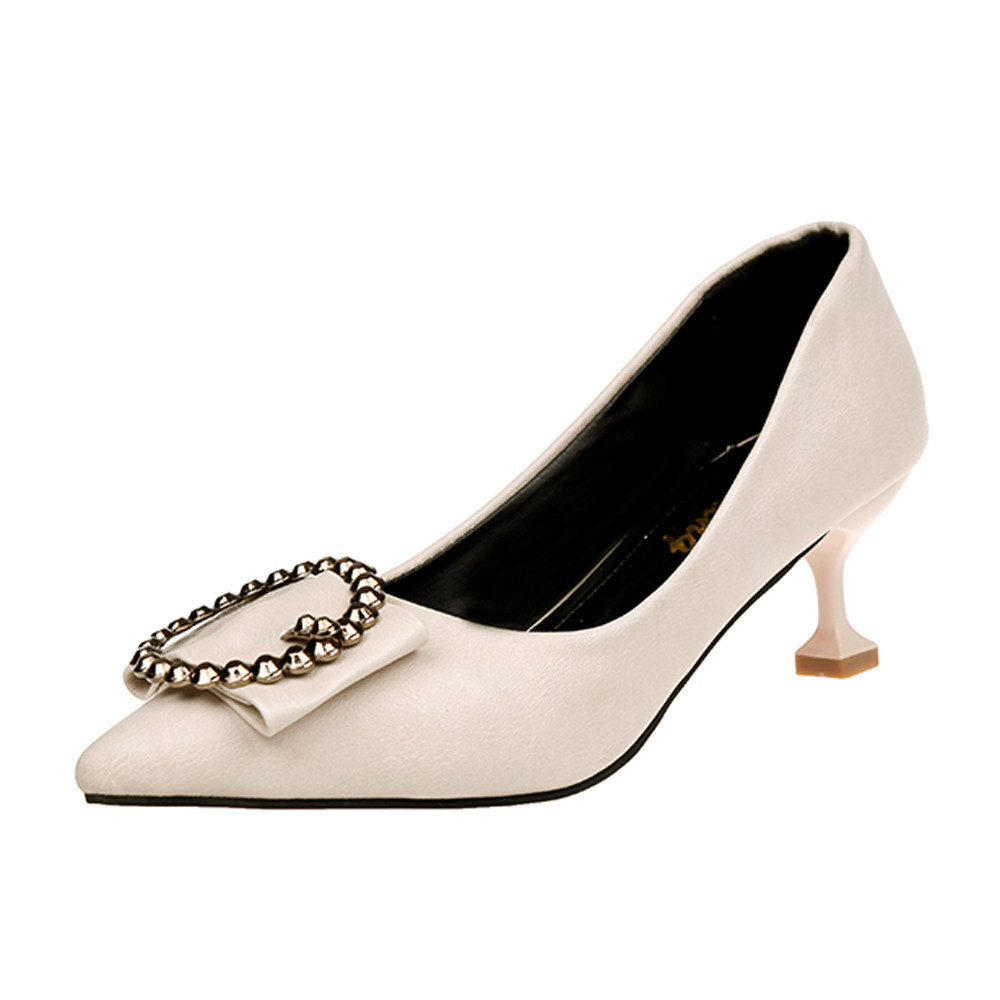Shoes New Sexy White Black Women Nude Formal Pumps Ladies Glossy Shallow Pointed Toe Sandals Ankle High Thin Heels