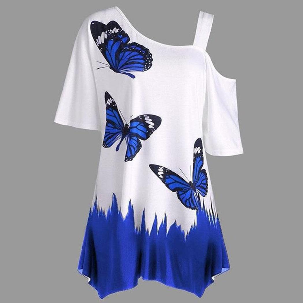 Mode Nouvelles Femmes Casual Papillon Imprimer Cold Shoulder Shirt Top Summer Blouse Mode Nouveau Nouveau Cold Shoulder Blouse
