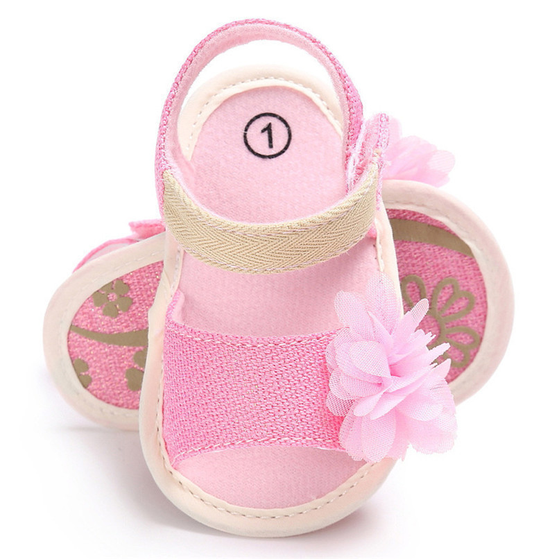Summer Baby Girl Shoes Newborn Toddler Baby Solid Canvas Flower Sandals Soft Sole Anti-slip Shoes Baby Girls Sandals JE25#F (15)