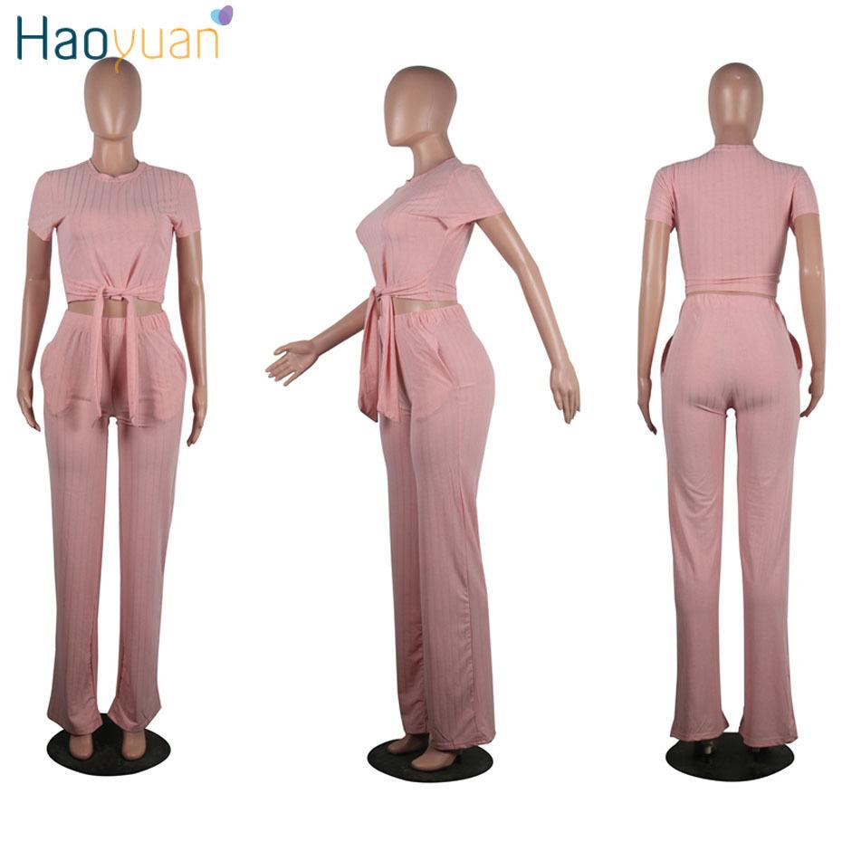 Haoyuan Knit 2 unidades conjunto ropa mujer sexy Club Crop Top y pantalones traje de sudor Festival de dos piezas trajes de verano Conjuntos J190429