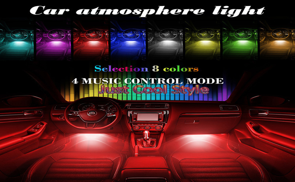 ZAECANY Car Interior Lights 4Pcs 36 LED Car Floor Atmosphere Glow Neon lights