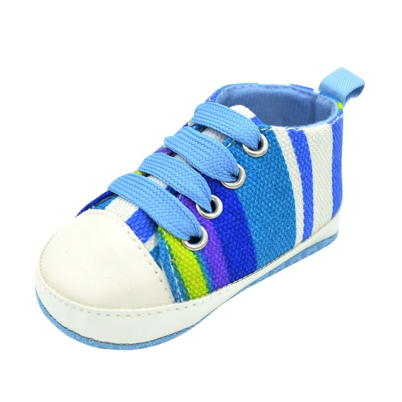 1 Pair Baby Shoes Newborn Infant Baby Boys Girls Stripe Soft Sole Anti-slip Canvas Shoes Baby First Walkers toddler shoes D4 (6)