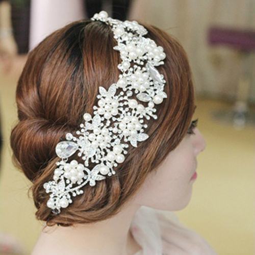 imitation pearl rhinestone chain link hair ornamen...