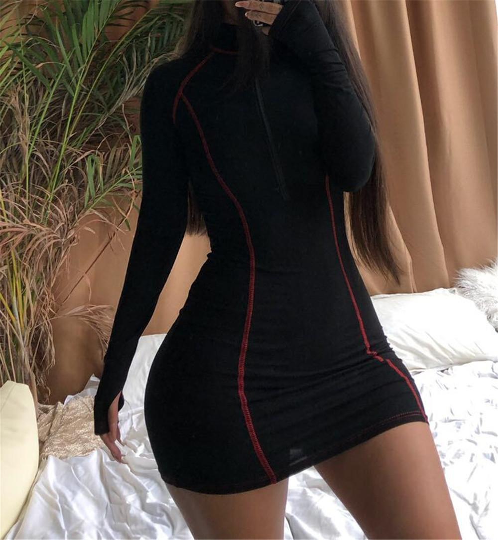 kgfigu langarm, figurbetontes kleid für frauen mit  reißverschluss-beiläufige baumwolle mini vestidos damenmode ausgehen  kleider mx200506