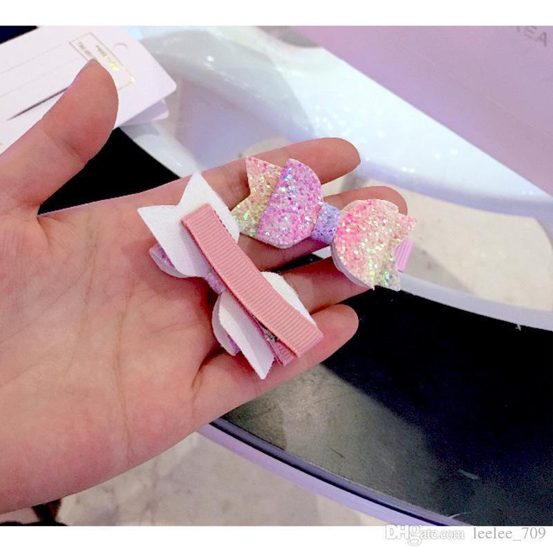 2 adet / takım Sevimli Mini Küçük Kızlar Saç Yaylar Klipler Çift Katmanlı Glitter Çocuklar Tokalar Sequins Prenses Headdress Aksesua ...