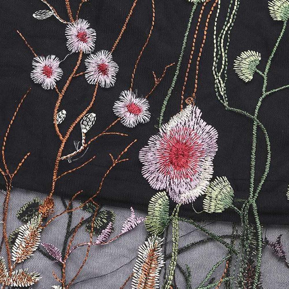 Yaz Elastik Bel Artı Boyutu 5xl Bohemian Çiçek Nakış Midi Etek Ofis Lady Çiçek Dantel Örgü Kadın Siyah Uzun Etekler Y19043002