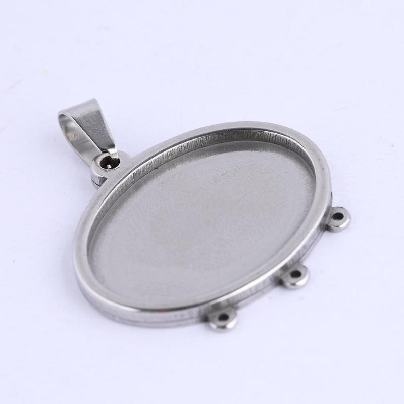 3pcs 18x25mm Antique Silver Leaf Oval Pendant Base Setting Cabochon Pendant Tray