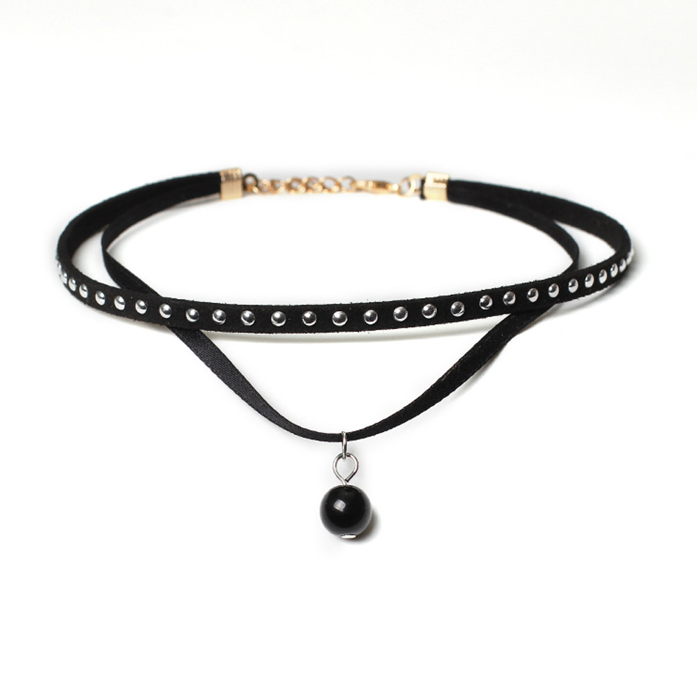 Huang Neeky #501 2018 Choker Necklace Set Stretch Velvet Classic Gothic Tattoo Lace Choker rope chain hot Drop Shipping