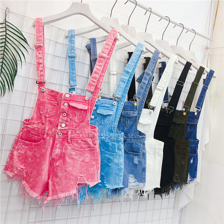 The new loose-fitting Korean version of the springsummer 2017 denim suspenders for female students shows a trend of slim, worsted fringed tassel shorts (1)