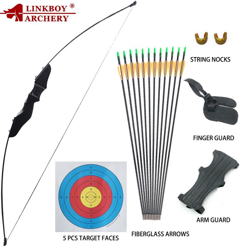 SHARROW 40lbs Takedown Recurve Bow and Arrow Set Archery Straight Bow with 12pcs Fiberglass Arrows for Beginner Training Shooting