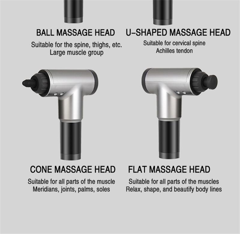 Fascial Gun Muscle Massaging Relax Recovery Soreness Pain Fascia Gun Relief Slimming Shaping Massager 4 Heads Gym Aiding (10)