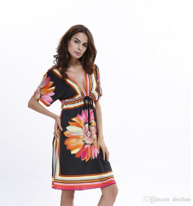 2019 Spring And Summer New Famous Fashion Designer Hot Sale Large Size Sexy Milk Silk Print Bat Sleeve Long Skirt Beach Dress