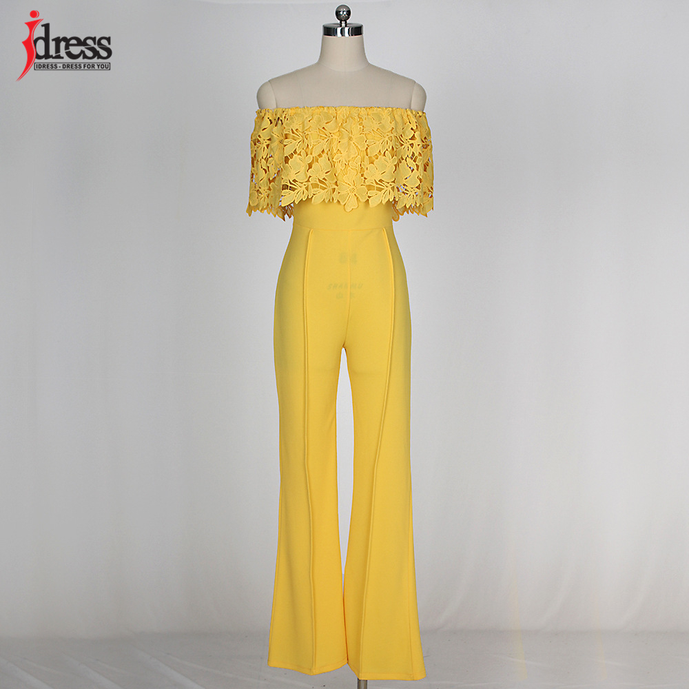 IDress Lace Crochet Rompers Women Jumpsuit Sexy Strapless Bodycon Jumpsuit Wide Leg Black White Yellow Long Pant Romper Overalls (9)