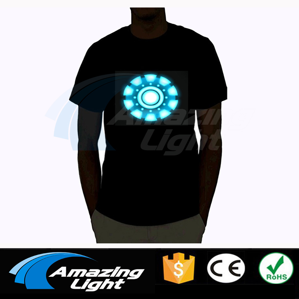 The Avengers Tony Stark DEL Iron Man T-shirt Arc Reactor Sound Activated USA Vêtements pour homme T shirt