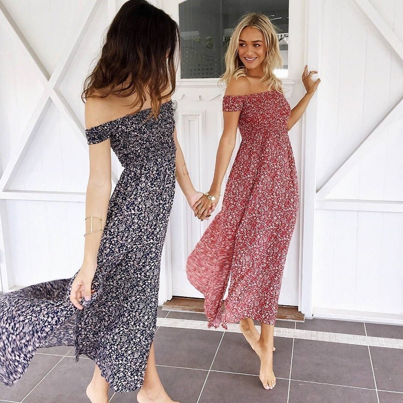 Bohemian Women Summer Dress 2019 Red Blue Floral Boho Dresses Off Shoulder Long Beach Vestidos Sexy Sundress Casual Maxi Dress MX190723