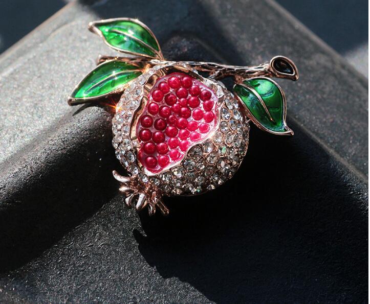 Rote Emaille Fruits Granatapfel Mode Kunst Strass Brosche Pin Anstecknadel