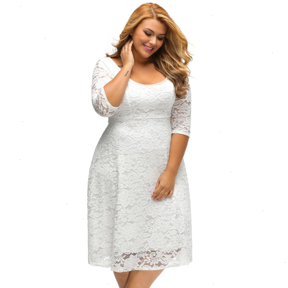 White Dress Plus Size Dresses Women White Lace Dresses High Quality Floral  4 Sleeve A Line Dress Female Zip Black Party Dress Plus Size Prom Dress ...