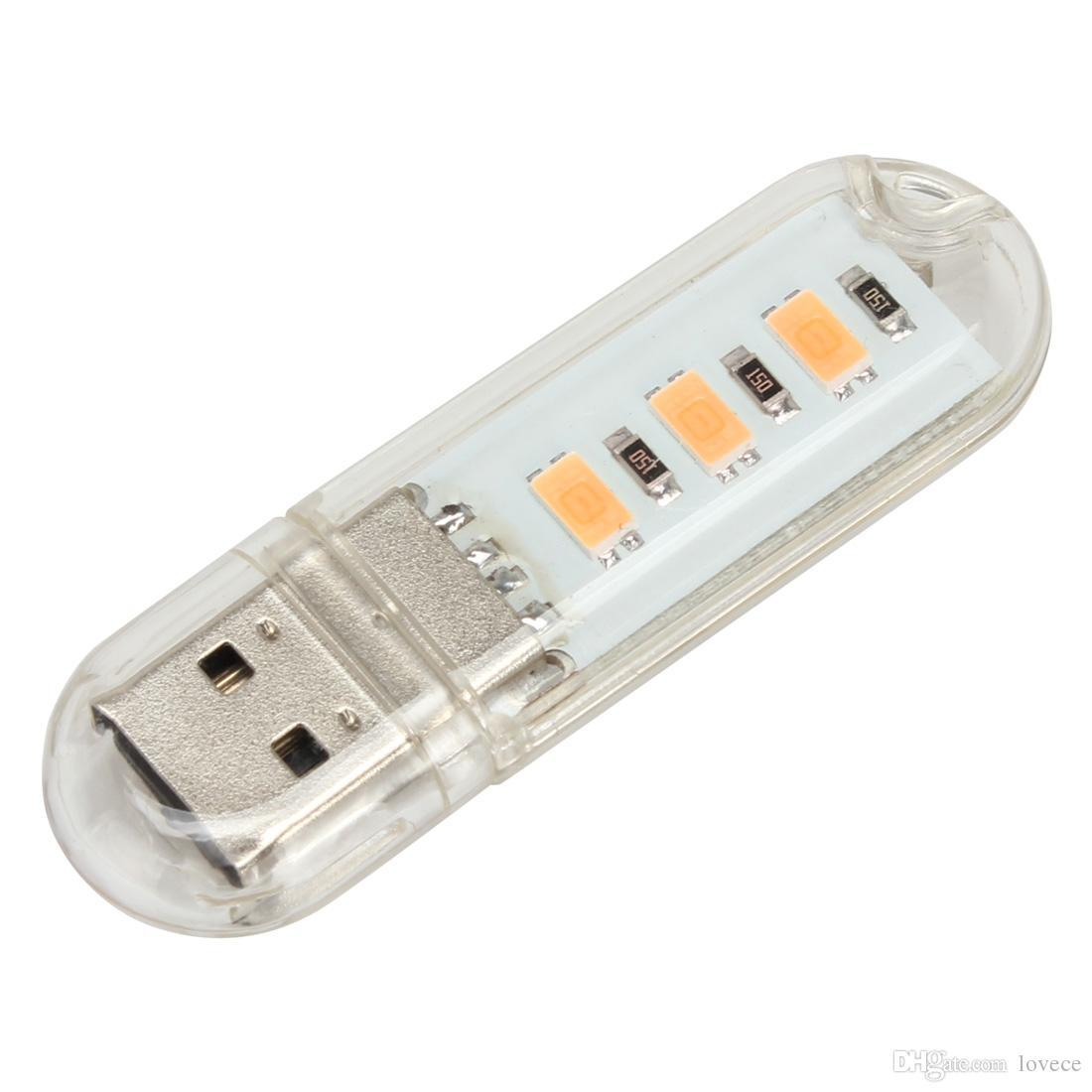 5V 1.5W 3 x 2835 LED Beads Small USB Night Light with Warm Light / White Light EGS_329