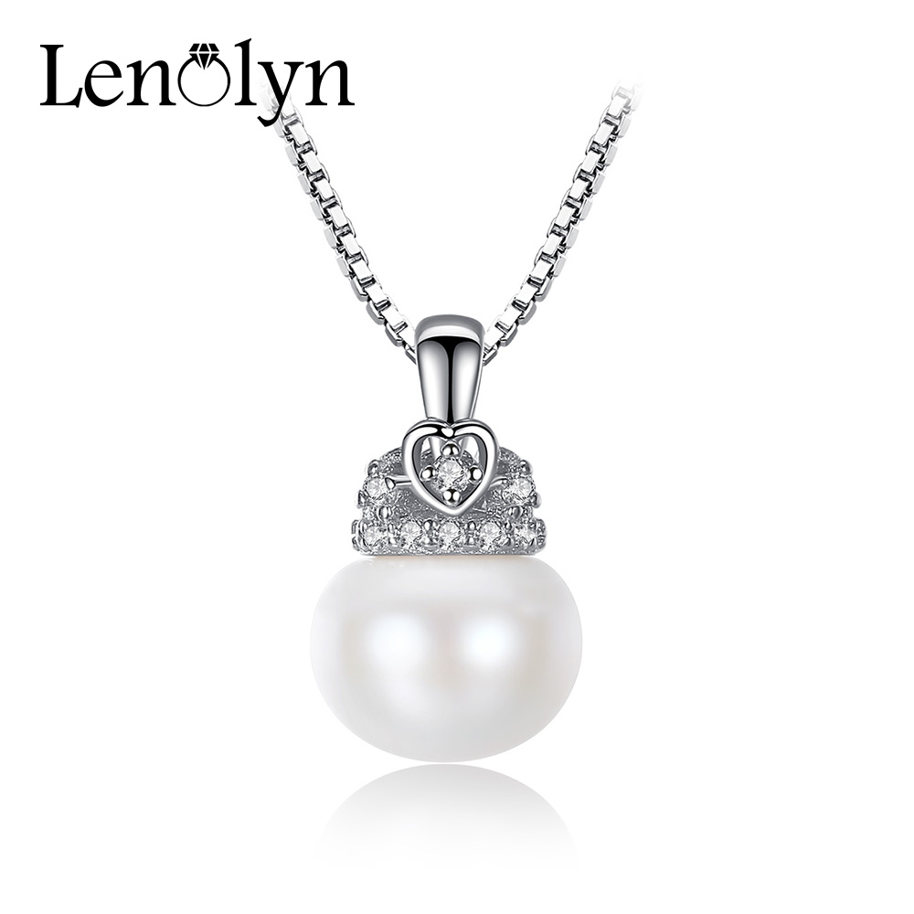 100/% Genuine 6-7mm White Freshwater Pearl Flower 18KWGP Pendant Chain Necklace