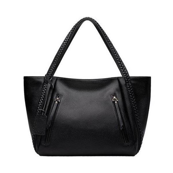 Lucky2019 Hombro sola señora Oblique Satchel Suave de cuero Bale Weave Handbag Middle Age Mom Package