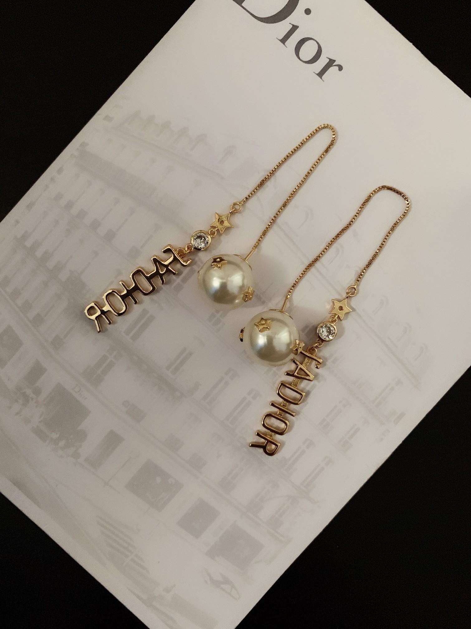 new brand Jewelry eardrop 2019 brass diamond tassel pearl earrings women love birthday gift top quality Jewelry women earrings 25-28DB185