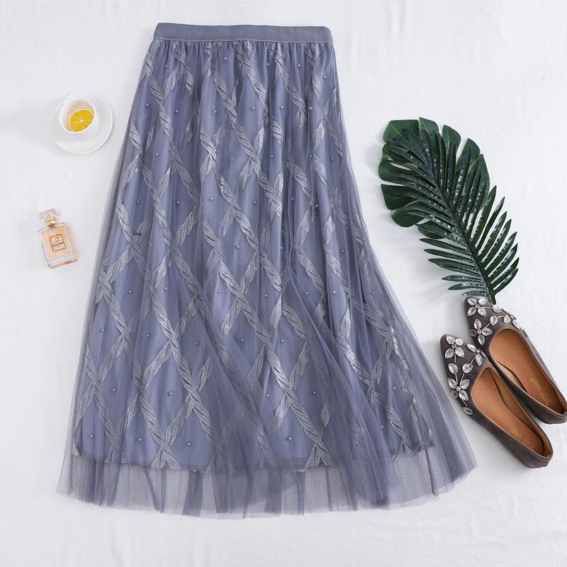 Plus Size M-4XL Women Tulle Skirts Beaded Mesh Lace Skirts High Waist Pleated Tutu Skirt Female Jupe Longue 2019 Spring Summer