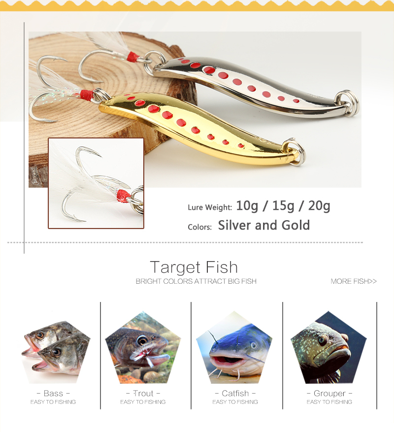 DONQL Metal Spoon Fishing Lure Hard Baits 10 15 20g Spinner Sequins Noise Paillette with Feather Treble Hook Fishing Tackle (3)