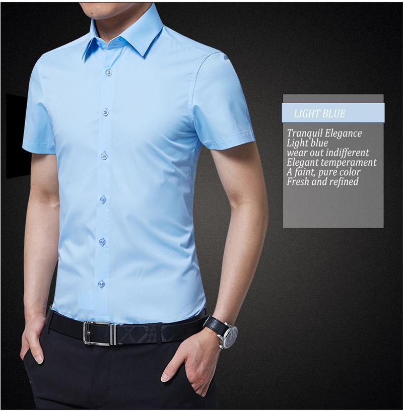 BROWON Brand New Formal Shirt Men Short Sleeve Shirt Turn Down Color Slim Fit Casual Shirt Plus Size M-5XL Camisa Masculina13