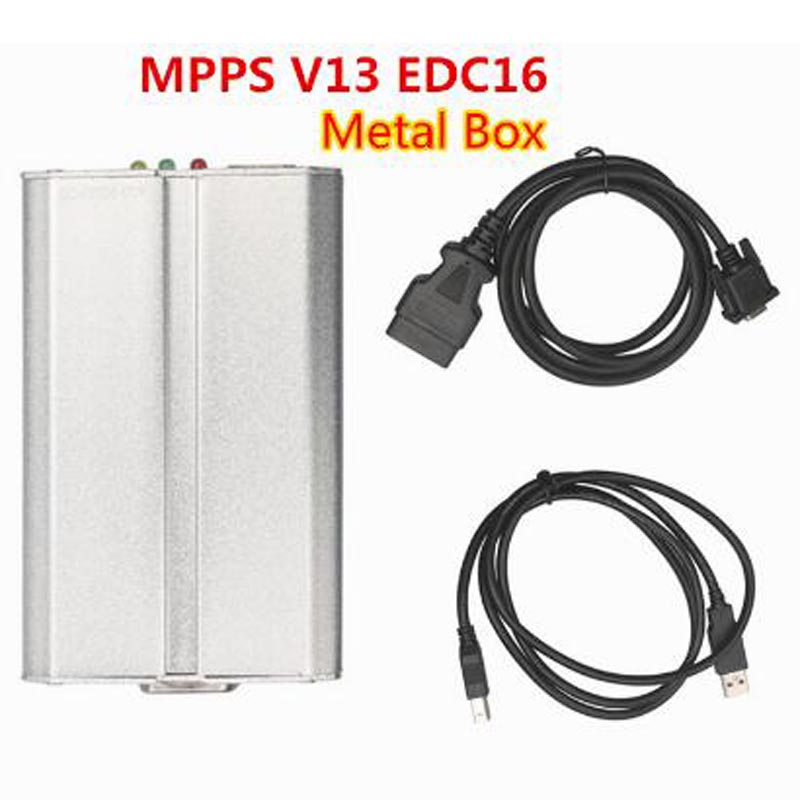 OBDII SMPS MPPS V13 Metal Box ECU16 Chip Tuning Remap+CAN Flasher for Audi BMW VW