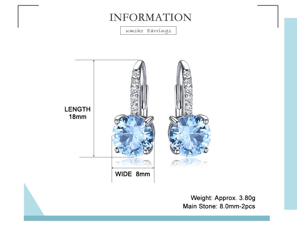 UMCHO Nano Sky Blue Topaz 925 sterling silver clip earrings for women EUJ061B-1-pc (2)