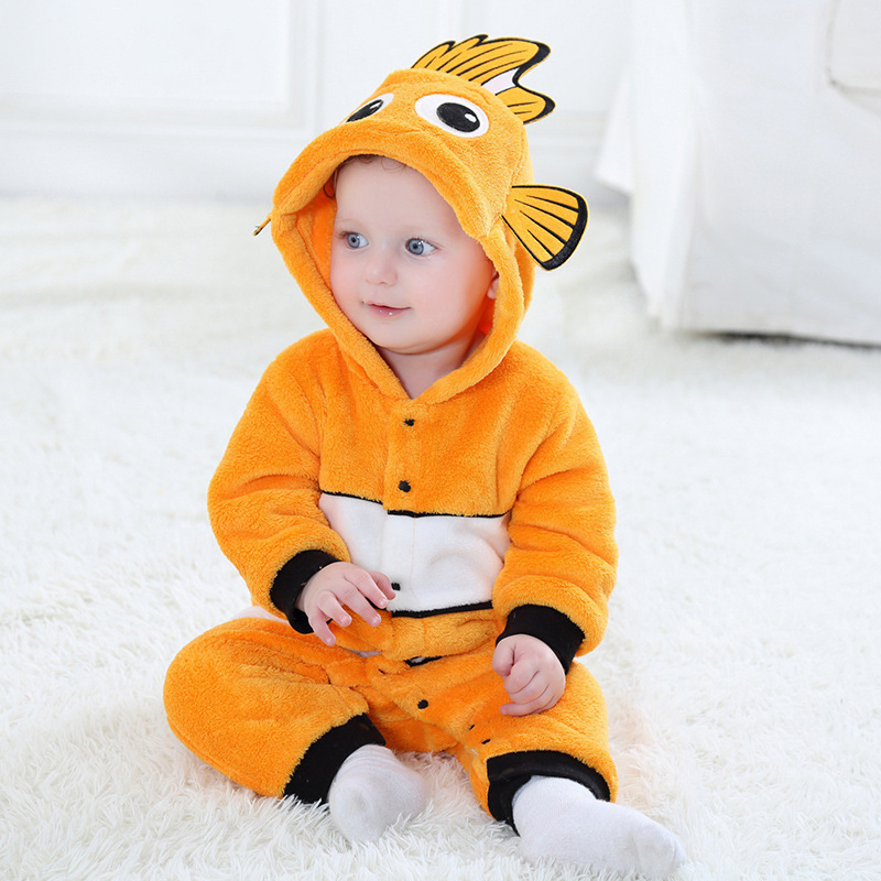 2019 Winter Flannel Cute Babys Clown Fish Costume Rompers Toddlers