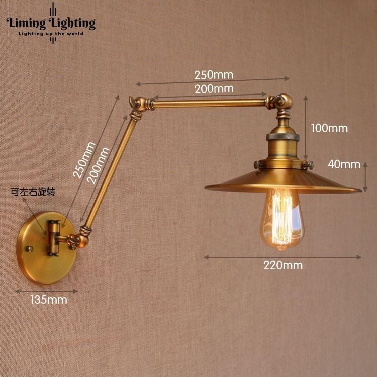 Nordic Brass Retro Loft Style Industrial Vintage Wall Lamp Adjustable Swing Arm Wall Light Edison Sconce Applique Murale E27/E26