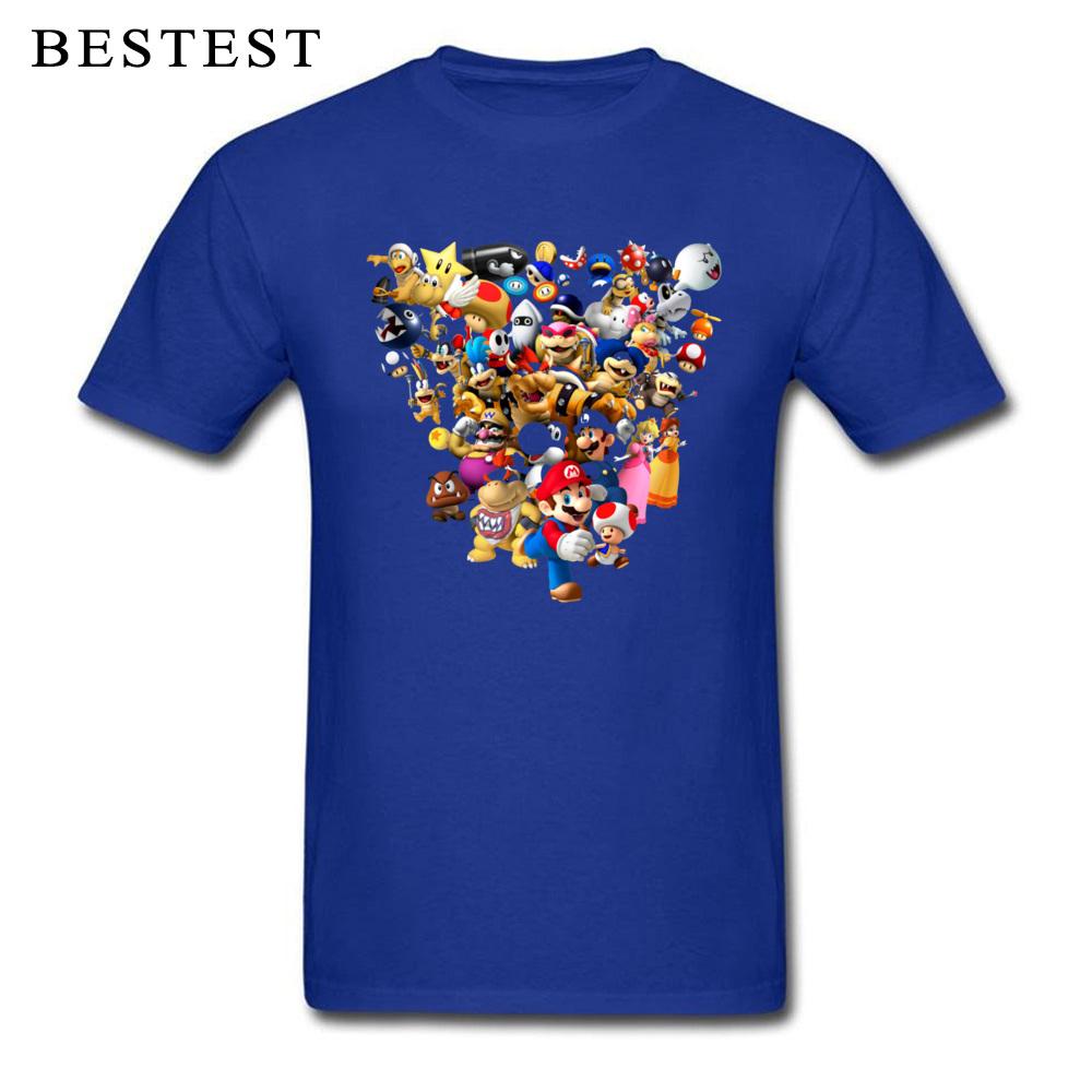 Mario Bros All Star 1825 Summer Fall 100% Cotton Crewneck Tops & Tees Short Sleeve Family Tops T Shirt High Quality T Shirt Mario Bros All Star 1825 blue