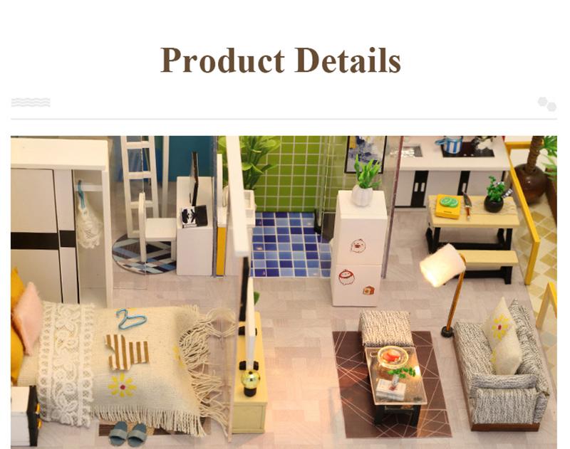3D DIY Miniature Dollhouse Loft Building Model Wooden Handmade Dollhouses Assemble Kits Doll House with Furnitures Toys (7)