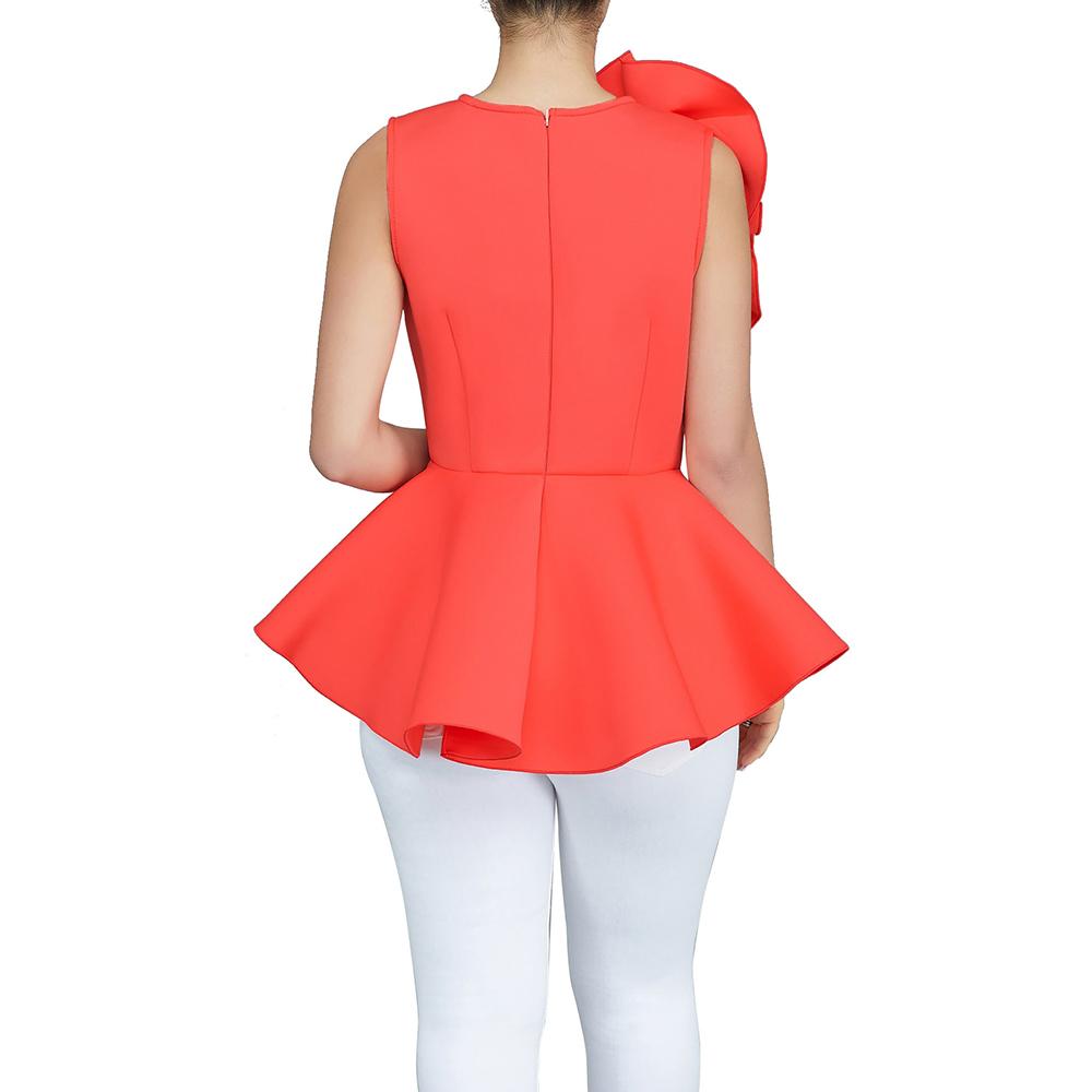 2018 Kadın Moda Yaz O-Boyun Kolsuz Ruffles Flouncing Asimetrik Hem İnce Bluz J190618 Tops