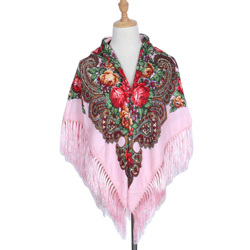 HOT Sale Russian Brand Big Size Square Scarf Cotton Long Tassel Scarf Spring Winter Shawl Women Floural Female Pashmina Cape Lic