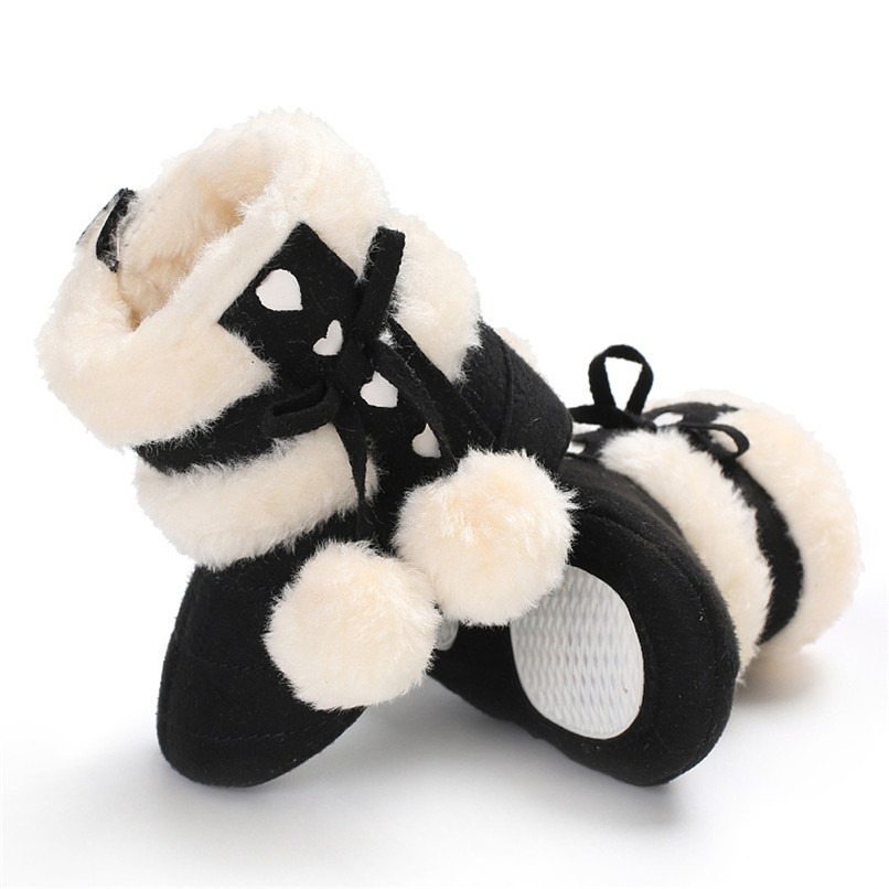 1 Pair Baby Girl Boots Baby Girl Bowknot Ball Soft Sole Snow Boots Soft Crib Shoes Toddler winter Boots bota infantil D10 (4)