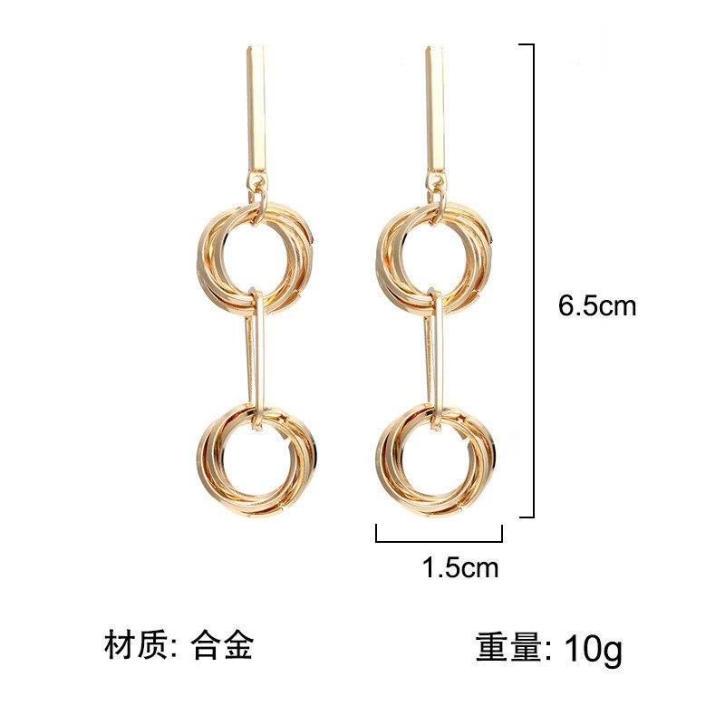 Fashion Metal Round Geometric Drop Earring For Women Jewelry European American Elegant Dangle Statement Silver Gold Earrings