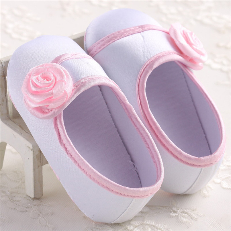 Baby Girls Shoes Fashion Newborn Infant Baby Girls Solid Flower Shoes Soft Sole Anti-slip Shoes Baby First Walker Shoes M8Y14 (1)