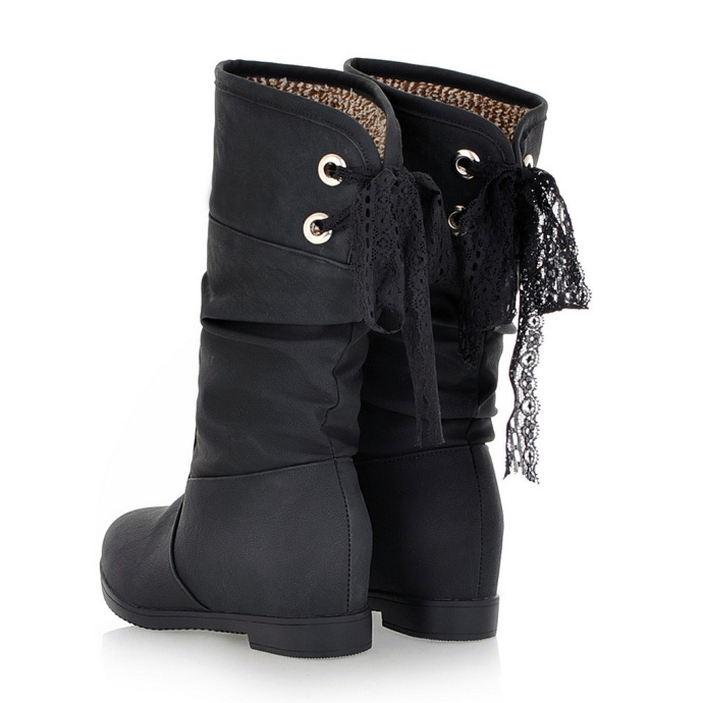1Middle Tube Boots Women 2019 Winter Increase Within Boots Women Round Toe Cross Tied Large Size Boots Shoes Botines Mujer