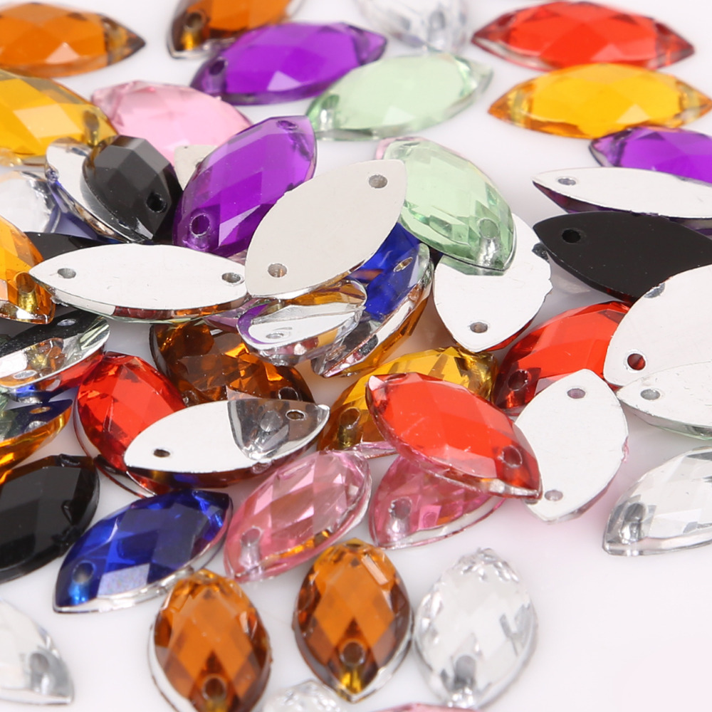 Craft Bling Cristal Rhinestone Flatback Coser gemas diversos forma Coser en granos