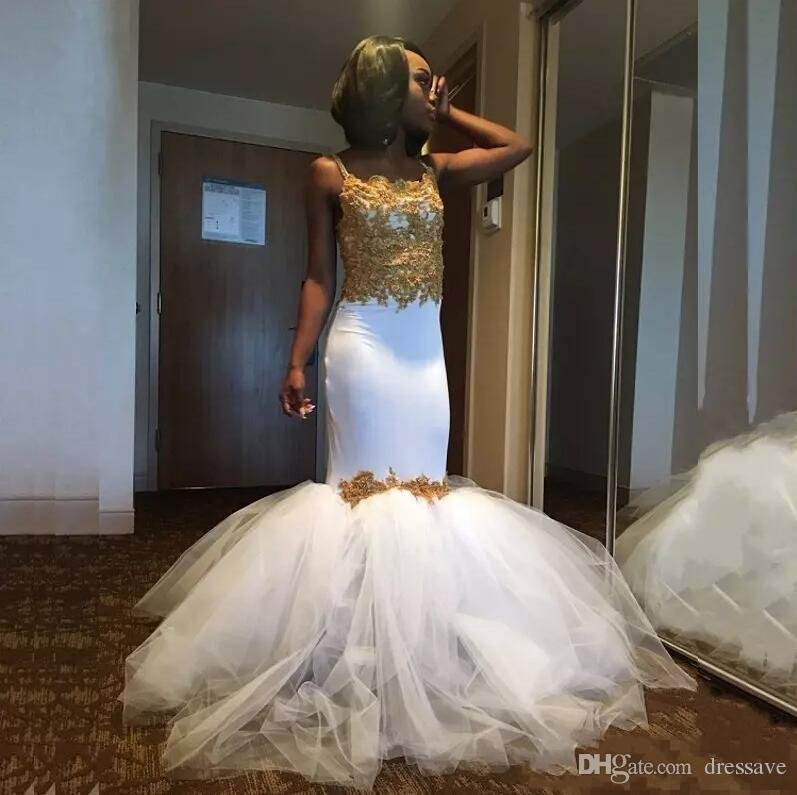 Sexy African Mermaid Prom Party Dresses 2018 White and Gold Evening dresses With Tulle Puffy Skirt Spaghetti Straps Lace Corset Gown