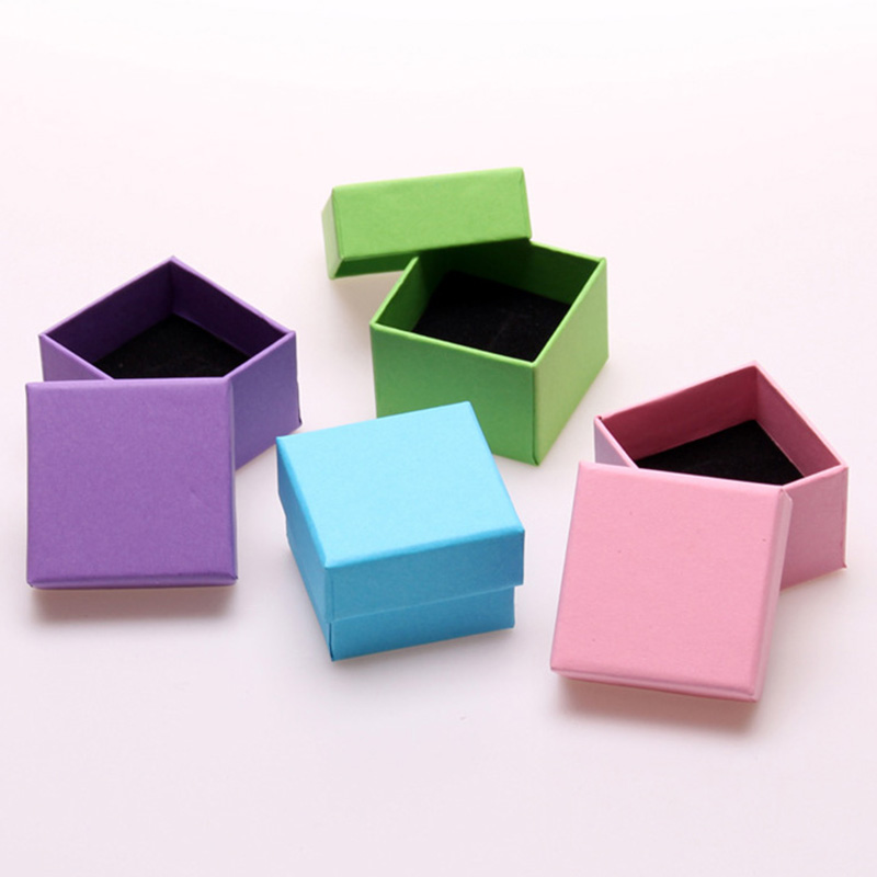Small Square Paper Gift Boxes for Jewellery with Black Sponge Solid Color Earrings Ring Box Jewelry Packaging Display