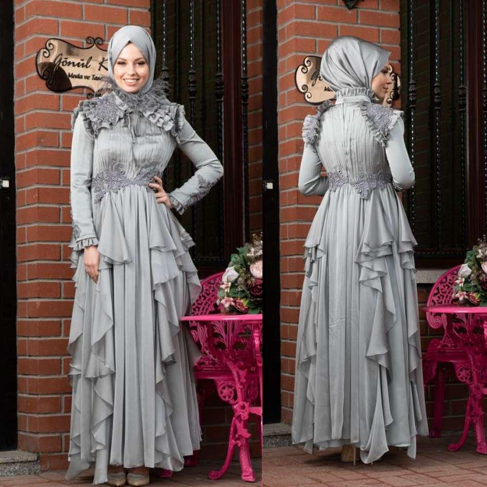 Muslimische Abendkleider 16 Long Sleeves Appliques Ruffle Formale  Abendkleider Hijab Islamic Dubai Kaftan Saudi Arabisch Party Dress