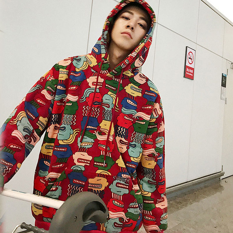 Fashion clothing mens funny hip hop rap cartoon Printed Fleece Hoodies Winter America Style Casual Sweatshirts Streetwear