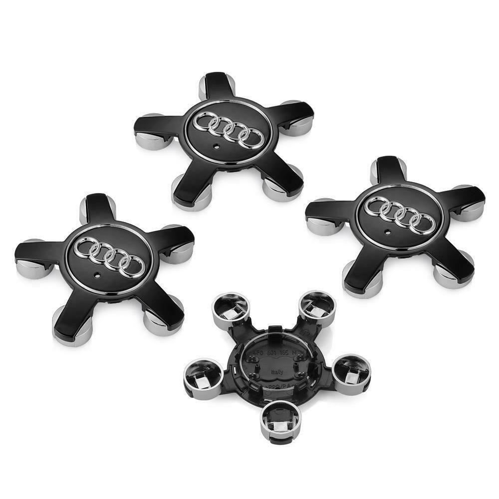 Centro De Rueda De Aleación 4x Tapas Para Audi insignia de plata 135 mm A3 A4 A5 A6 A7 TT
