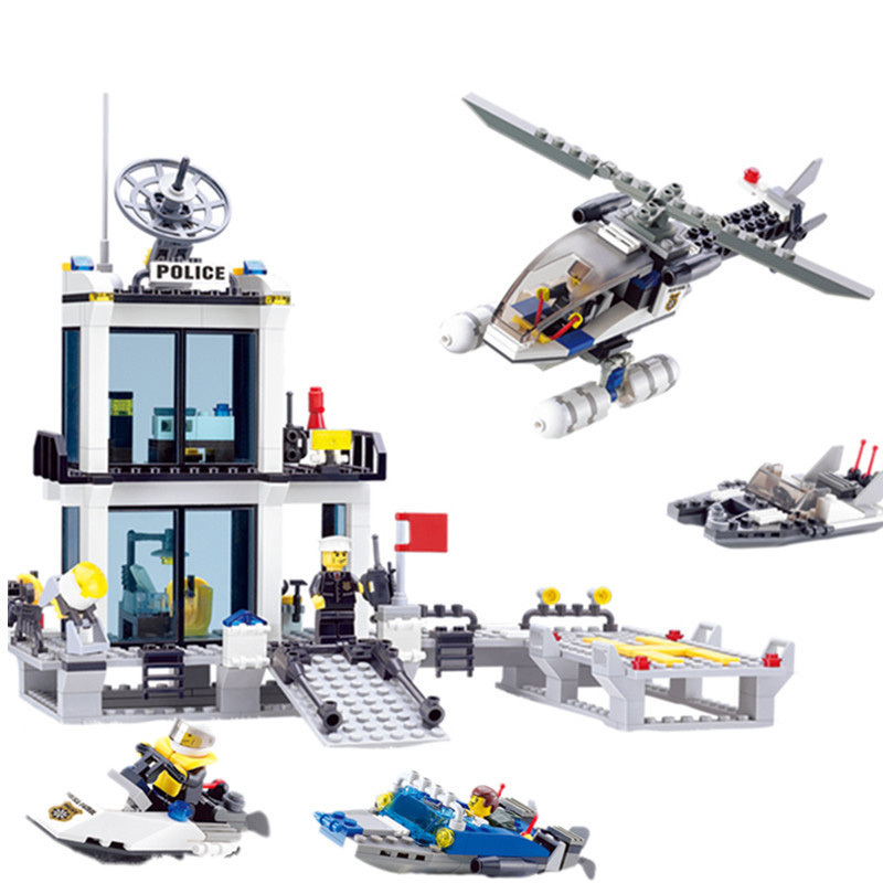 KAZI-Education-Police-Station-Building-Blocks-Helicopter-Boat-Model-Bricks-Toys-Compatible-famous-brand-brinquedos-Birthday