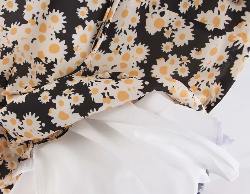 Mulheres Coração Neck Fit E Flare Daisy Imprimir Cami Vestido Casual Strap Ties Mini Vestido Y19041801