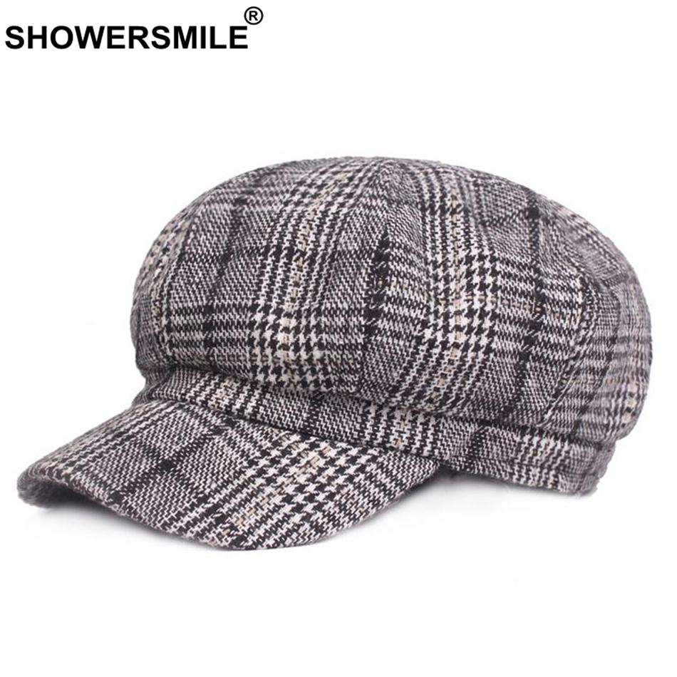 wholesale Plaid Newsboy Caps Women Wool Vintage Caps Female Checkered British Style Painter Cap Autumn Winter Caps And Hats